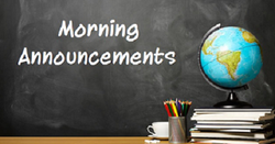 Announcements Friday September 20, 2019